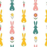 Seamless Easter pattern with bunny, carrot and flowers on white background. Vector illustration.