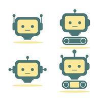 set of metal robot vector image