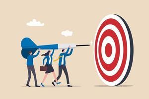objetivo empresarial del equipo, colaboración del trabajo en equipo para lograr el objetivo, compañeros de trabajo o colegas con la misma misión y concepto de desafío, las personas de negocios y mujeres ayudan a sostener el dardo apuntando al objetivo de la diana. vector