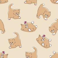 Cats seamless pattern. Funny cartoon kittens in different poses on beige color background. Vector hand-drawn illustration in flat style, pastel palette for printing textiles, wrapping