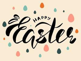 Happy easter lettering. Greeteng card. vector