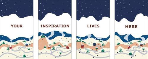 Winter background vector. Winter landscapes with houses vector illustrations design for social media post and stories, Cover, wallpaper design for advertising and banners. Flat, simple, cartoon.