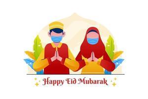 Muslim Greeting Happy Eid Mubarak Couple Wearing Mask vector
