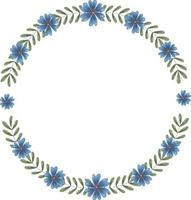 Vector round frame of many green branches with leaves and dark blue flowers. The wreath inside has a place for text.