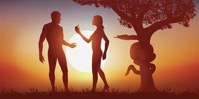 Adán y Eva compartiendo la manzana en el cielo vector