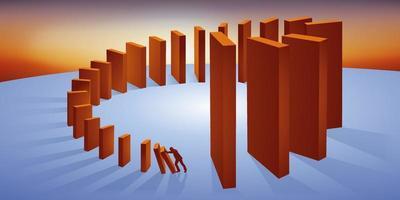 concepto de las consecuencias irreversibles de un efecto dominó vector