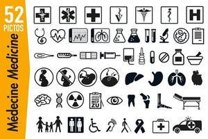 Pictogramas de señalización para medicina y salud. vector