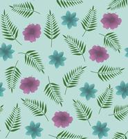 Beach cheerful seamless pattern with palm leaves and flowers. Perfect for wallpaper, background, fabric or wrapping paper. vector