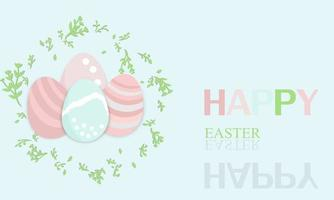 Happy Easter eggs background pastel with green color grass and font happy easter vector for greeting card easter day