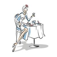 Hand drawn stylish illustration fashion design. Girl at the coffee table. Young women dressed in trendy clothes sitting in a cafeteria or restaurant. Sketch vector illustration
