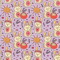 Happy Easter holiday doodle seamless pattern, background. Little rabbit, bunny. Sun, herbs. Packaging paper design. vector