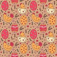 Happy Easter holiday doodle seamless pattern. Egg, hen, bird, herbs. Packaging paper design.