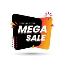 Etiqueta de mega venta sobre fondo blanco, banner de oferta especial de mega venta, ilustración vectorial vector