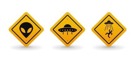 Alien and UFO warning road sign collection set, vector illustration