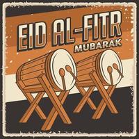 Retro Vintage Eid Al Fitr Mubarak Poster vector