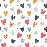 Hand drawn hearts pattern vector
