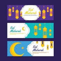 Eid Mubarak Greeting Banner Set vector