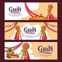 Flat Banner Gudi Padwa Set vector