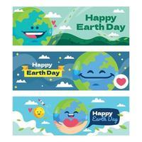 plantilla de banner de feliz día de la tierra vector