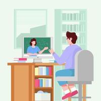 diseño de concepto de escuela en línea vector