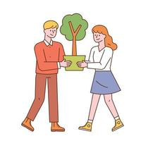 A man and a woman are holding a flower pot together. vector