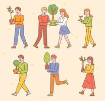 People are walking with small tree pots. vector