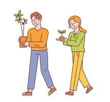 A man and a woman are walking with small pots. vector