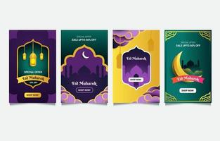 Eid Mubarak Sale Card Set vector