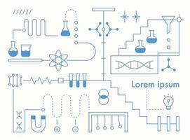 Estructura de la organización del experimento científico, diseño infográfico de línea. plantilla de diseño de patrón simple. vector