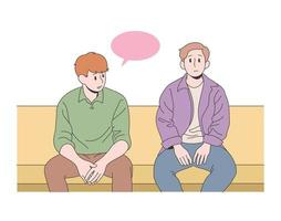 Friends are sitting together vector