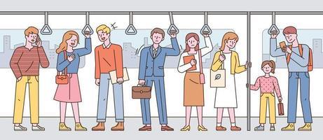 los pasajeros del metro están parados en una fila. vector