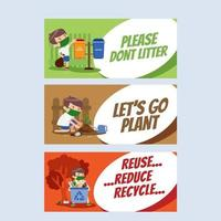 Earth Day Habit Banner Collection vector