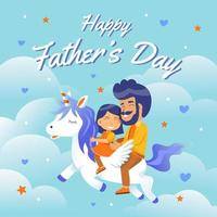 Father and Daughter Riding Unicorn Concept vector