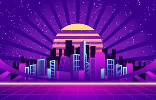 Enthralling Nightlife in Neon City Background vector