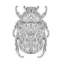 Ilustración de libro de colorear lineal de escarabajo de bronce vector
