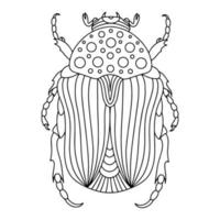 Alpine barbel beetle linear coloring book illustration vector