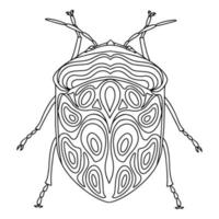 Bedbug linear coloring book illustration vector