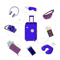 collage de artículos de viaje vector