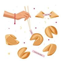 A set of Chinese fortune cookies vector