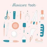 vector, conjunto, de, manicura, herramientas vector