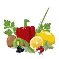 fuentes alimenticias de vitamina c vector