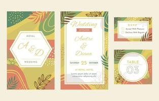 Abstract Floral Wedding Stationery Collection vector