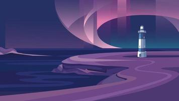 Lighthouse by the sea. Beautiful landscape with northern lights. vector