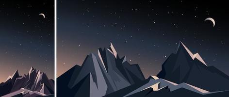 conjunto de paisaje de montaña de noche vector