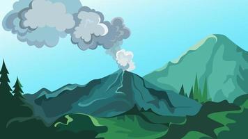 Active volcano in the wild. vector