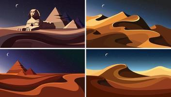 Set of night desert landscapes. vector