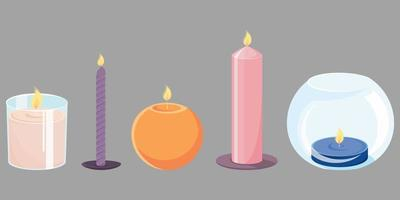 Set of different candles. vector