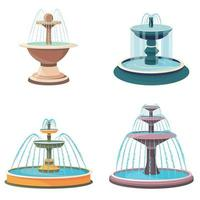 Set of different fountains. vector