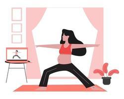 mujer embarazada tomando clases de yoga para el embarazo en línea. vector