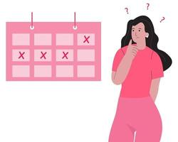 Missed period concept illustration. Woman monthly period. vector